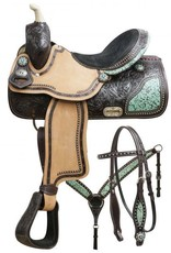 """Double T 15"""" Wide Double T Barrel Saddle Set with Teal Filigree Inlay"""