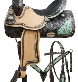 "Double T 15"" Double T Barrel Saddle Set with Teal Filigree Inlay"