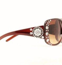 Sunglasses - Brn Round Concho/Crystal