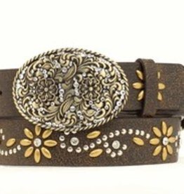 "Nocona Adult - Brown 1 1/2"" Flower Crystal Belt"