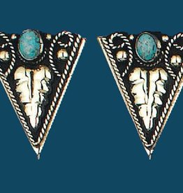 WEX German Silver Turquoise Collar Tips Screw On