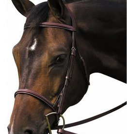 HDR Henri de Rivel Pro Plain Raised Bridle with Laced Reins - Pony  Havana