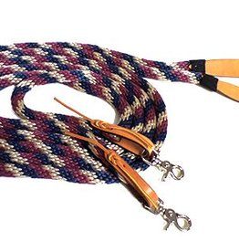 Triple E Nylon Split Reins with Poppers & Snaps - 7'