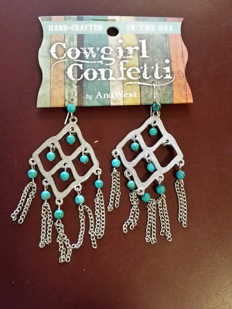 Earrings - Caged Guardian, Drop Turquoise