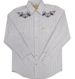 White Horse Men's White Horse Grey Stripe Embroidered Shirt