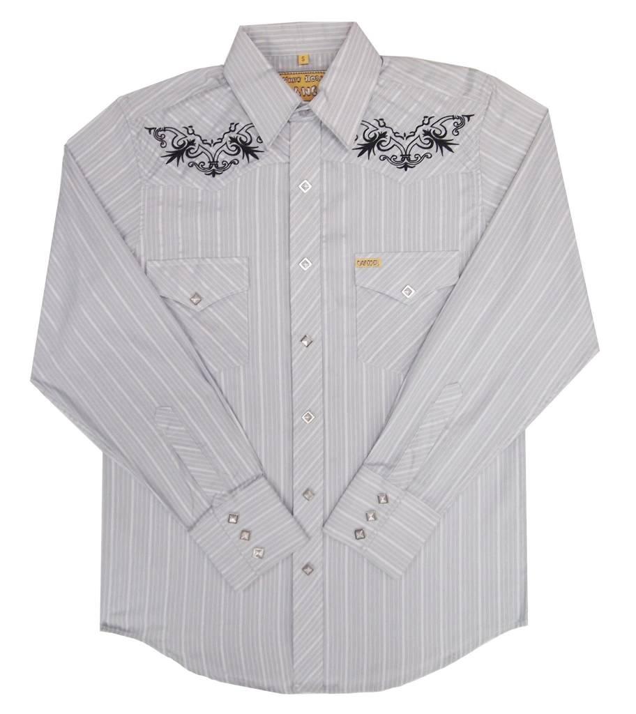 White Horse Mens White Horse Grey Stripe Embroidered Shirt Gass
