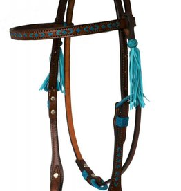 Alamo Headstall with Turquoise Rawhide Southwestern Design