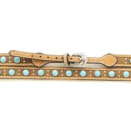 M & F Western Products Leather Hat Band w/ Turquoise Stones
