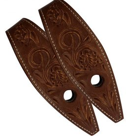 Showman Showman® Floral Tooled Leather Slobber Straps