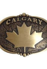 Belt Buckle - Bronzed Calgary w/Canadian Maple Leaf