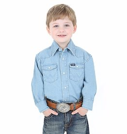 Wrangler Boy's Wrangler Cowboy Cut Western Snap Shirt - Denim