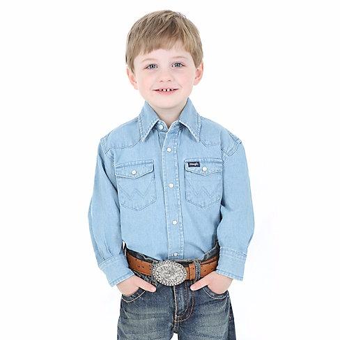 870bde223 Boy's Wrangler Cowboy Cut Western Snap Shirt - Denim - Gass Horse ...