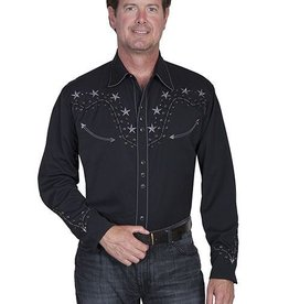 Scully Leather Men's Scully 2-Tone Star Stud Shirt - Black Small (Reg $84.95 NOW $20 OFF!)
