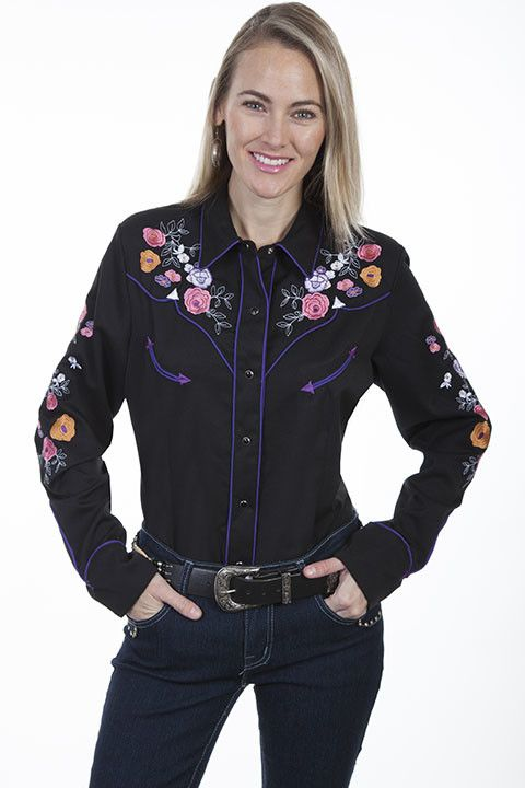 Scully Women's Scully Colorful Floral Embroidered Western Shirt