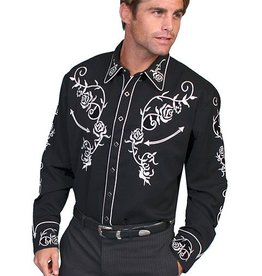 Scully Leather Men's Scully Rose Embroidery Western Shirt