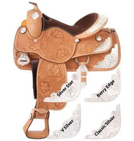 "Silver Royal 15"" FQHB Silver Royal Premium Challenger Show Saddle - V-Silver Trim - (Reg $1095.95 now $200 OFF!)"