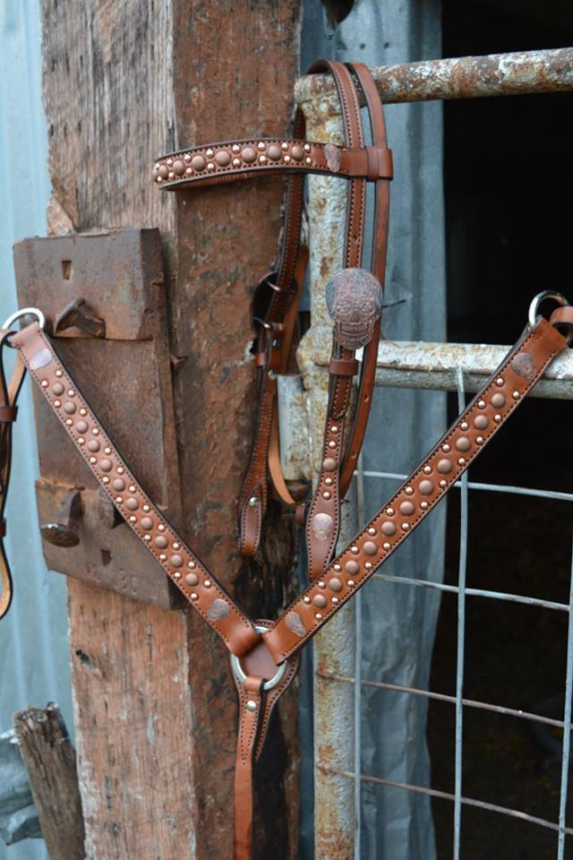 Alamo Browband Headstall w/ Copper Spots & Skull Buckles