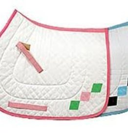 Saddle Pad - Equine Couture Argyle A/P, White/Pink/Green