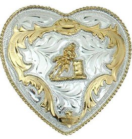 WEX Belt Buckle - Heart Shaped Barrel Racer Silver/Gold Rope Edging Heart