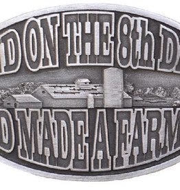 "WEX Belt Buckle - ""And on the 8th Day God Made A Farmer Silver - 3 3/4"" x 2 3/4"""