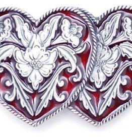 """WEX Belt Buckle - Double Heart Red Enamel - 3"""" x 2"""""""