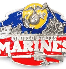 "WEX Belt Buckle - US Marines Enameled - 3-1/8"" x 2-1/2"""