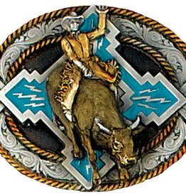 "WEX Belt Buckle - Bullrider Belt Pewter - 3 1/2"" x 2 3/4"""