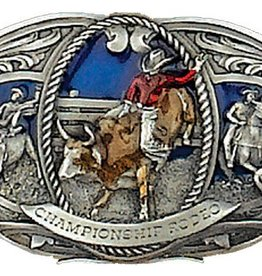 "WEX Belt Buckle - Championship Rodeo, Pewter - 3"" x 2"""