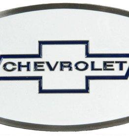 "WEX Belt Buckle - Chevrolet Enamel, White - 3"" x 2 1/4"""