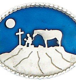 WEX Belt Buckle - Cowboy Praying, Blue