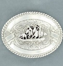 M & F Belt Buckle - Crumrine Team Roper, Silver Oval