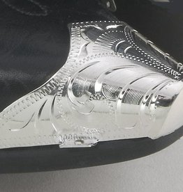 WEX Boot Toe Tips - Engraved Silver w/Snip Front