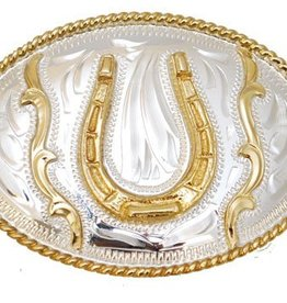 "WEX Belt Buckle - Youth Size Horseshoe - 3"" x 2"""