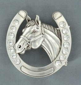 M & F Belt Buckle - Horseshoe Horsehead 2.75x3.5