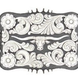 Nocona Belt Buckle - Nocona Longhorn Slvr/Blk Rectangle