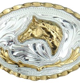 "WEX Belt Buckle - Small Horsehead German Silver - 2-3/4"" x 2"""