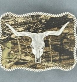 Nocona Belt Buckle - Nocona Bull Skull With Camo Background