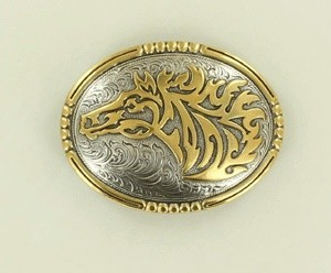 Belt Buckle- Silver and Gold Horsehead