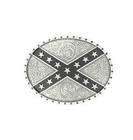 Nocona Belt Buckle- Silver Rebel Flag