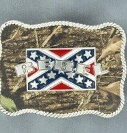 Nocona Belt Buckle- Rebel Flag with Camo Background