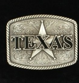 M & F Belt Buckle - Nocona Silver Texas and Star