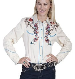 Scully Leather Women's Scully Colorful Horse Embroidered Western Shirt