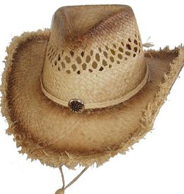 WEX WEX Raffia Straw Hat - Button Accents and Frayed Edges
