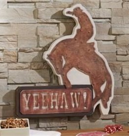 Giftcraft Inc. Metal/Wood Sign - Cowboy Design w/ LED Lights