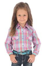 Wrangler Girl's Wrangler Plaid Western Snap Shirt - Purple Turquoise