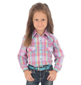 Wrangler Children's Wrangler Plaid Western Snap Shirt - Purple Turquoise