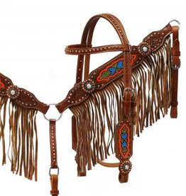 Showman Showman Tack Set w/ Brown Suede Fringe & Beaded Inlay