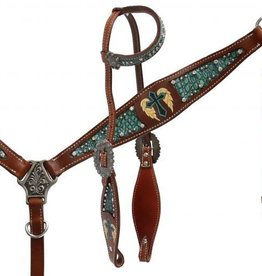 Showman Showman Gator Inlay & Painted Cross w/ Wings Tack Set