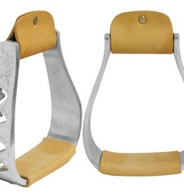 Showman Engraved Polished Stirrups Alluminum Zig-Zag