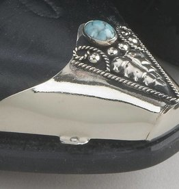 WEX Boot Toe Tips - Silver with Turquoise Inlay